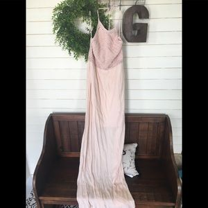 Zara Medium blush pink maxi dress with knit halter